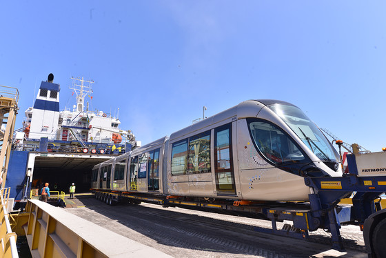 Arrival of the first Alstom Citadis tram  for the Rabat - Salé tramway network