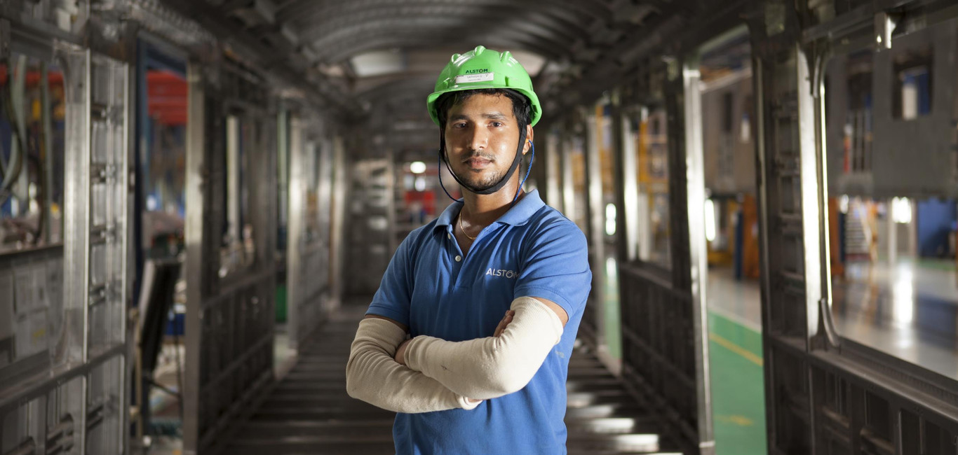 Worker posing in  Sri City site, India