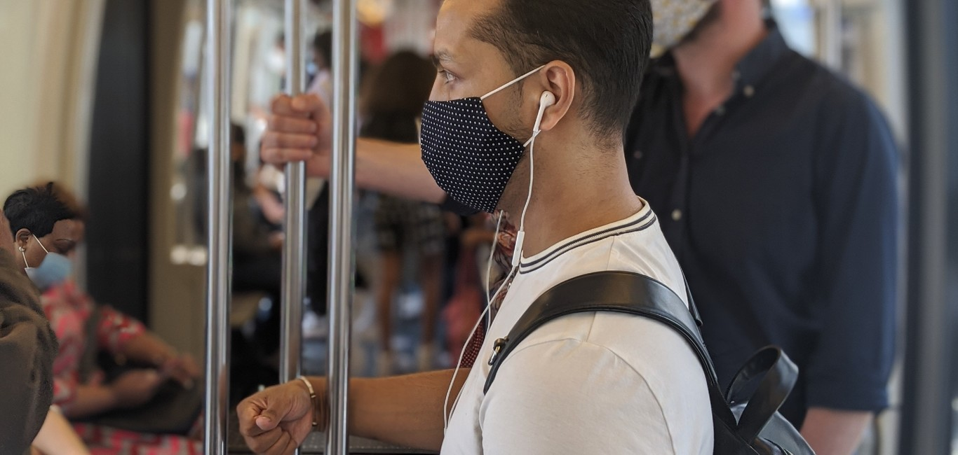 Paris Metro passengers with face masks