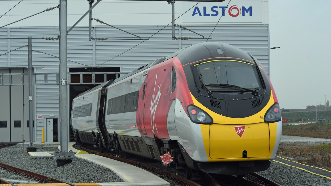 Freshly painted Pendolino 25 in Widnes UK
