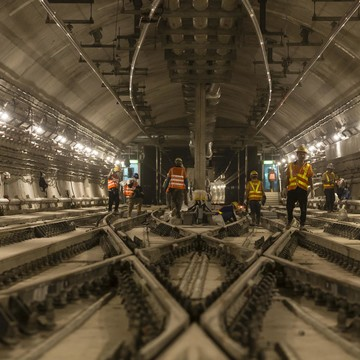 Alstom employees work on signalling, Hong Kong