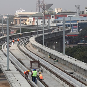 Track laying for the Chennai metro Infrastructure project
