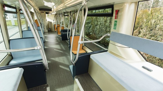 Interior design. Focus on full low floor. | Copyright/Ownership Alstom / A. Février