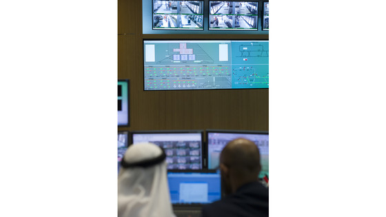 Control room with operators at the Alstom maintenance depot in Dubai. View of one of the computer screen showing some graphic and security videos United Abab Emirates. March 2016.